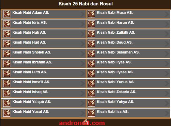 Aplikasi Android Mengenal Kisah 25 Nabi dan Rasul Terlengkap
