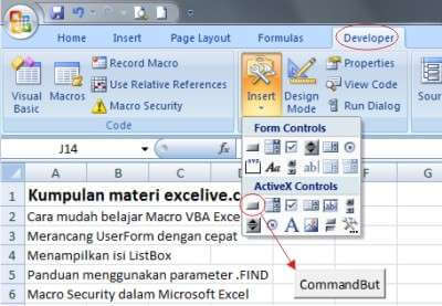 CommandButton dalam lembar kerja