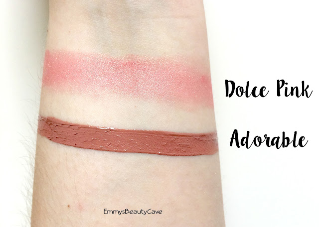 Milani Amore Matte Lip Cream Adorable Swatch, Milani Dolce Pink Blush Swatch