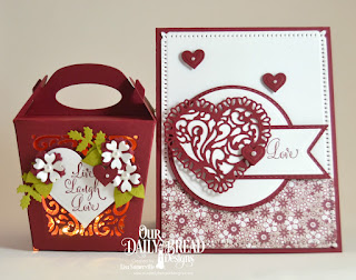 Hugs & Kisses, ODBD Custom Dies: Tulip Heart, Double Stitched Circles, Circles, Double Stitched Pennant Flags, Pennant Flags, Snowflake Sky, Glorious Gable Box, Heavenly Hearts, Layering Hearts, Bitty Blossoms, Leaves & Branches, Paper Collections: Heart and Soul