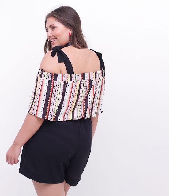 Moda Blusa Ombro a Ombro Curve Plus Size