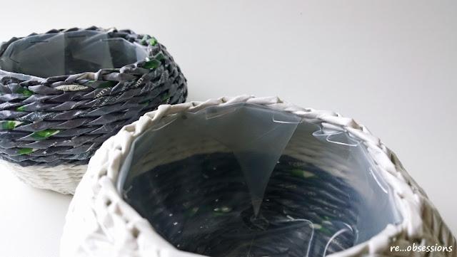 koszyk, papierowa wiklina, osłonka na doniczkę, white&black, biało czarne, wicker paper, basket