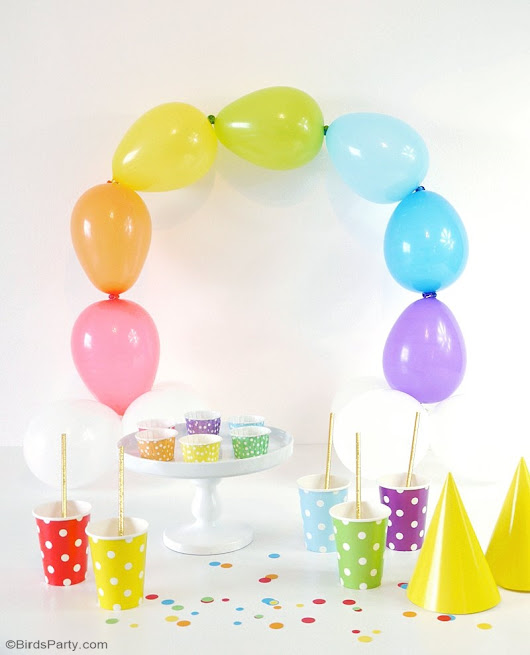 DIY Easy Rainbow Balloon Arch | Party Ideas | Party Printables