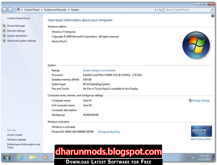 Windows 7 SP1 April 2019 Edition for Free Download - Dharun MODS