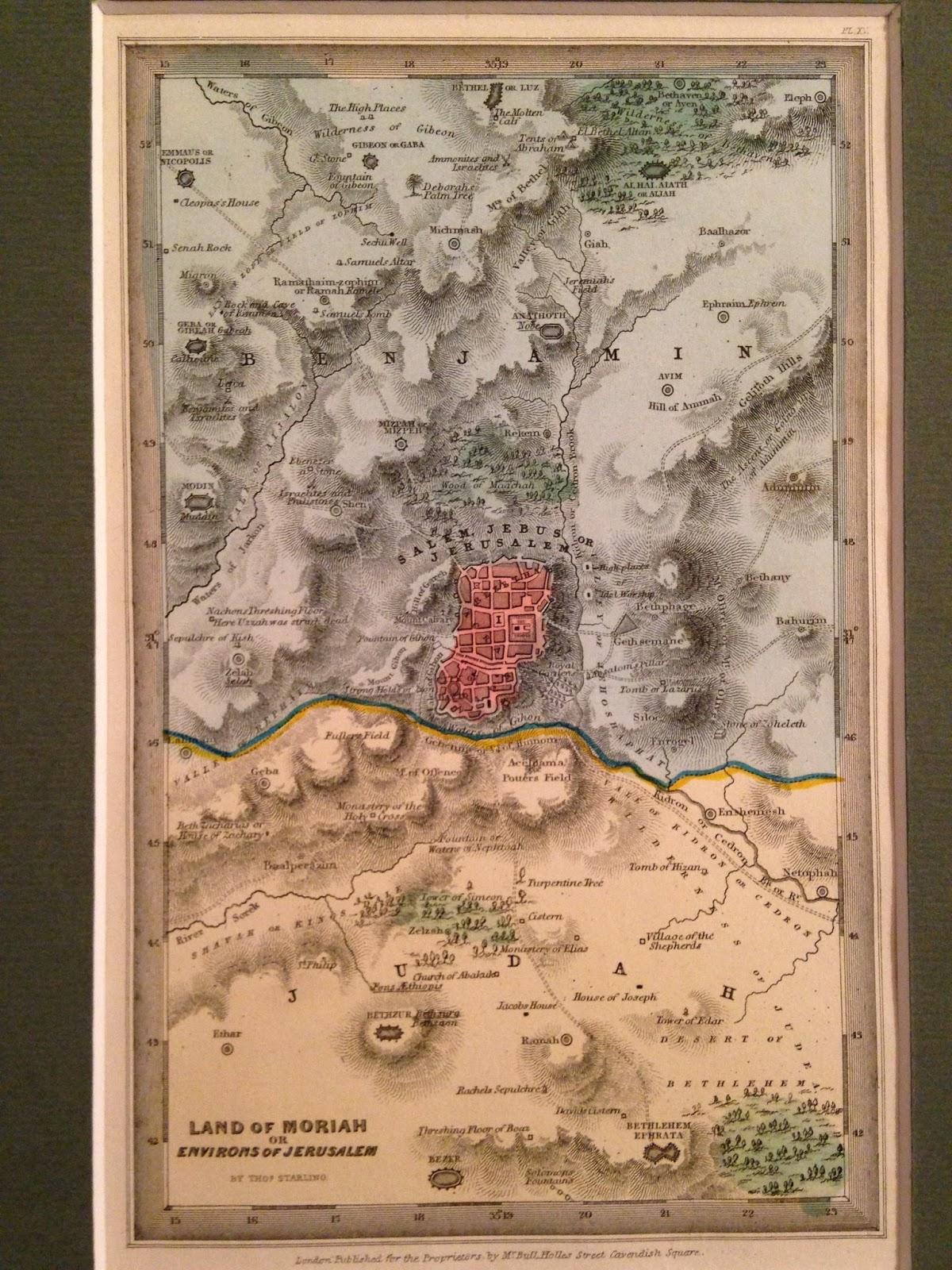 the map is titled land of moriah or environs of jerusalem the map maker is thomas starling and printed at the bottom is london published for the