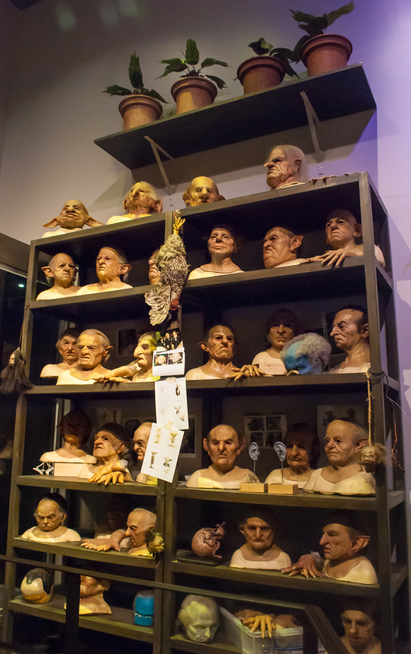 Faces and heads of creatures at Harry Potter Studios, Engalnd