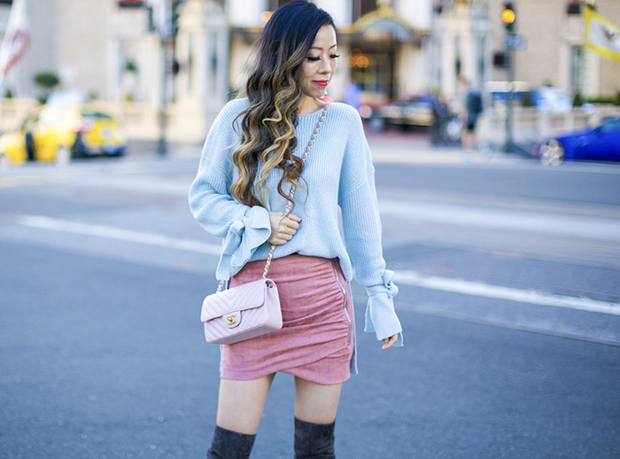 baby blue bow knot top, tie sleeve sweater, pink suede skirt, chanel mini flap, baublebar earrings, stuart weitzman over the knee boots, san francisco fashion blog, san francisco street style, fall outfit ideas
