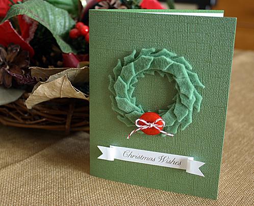 Christmas card felt wreath