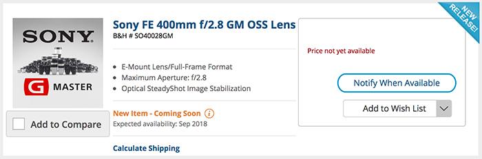 Страница объектива Sony 400mm f/2.8 GM на сайте B&H