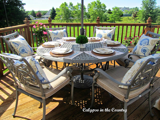 Father's Day Table Setting - dining alfresco on the deck with Dad!