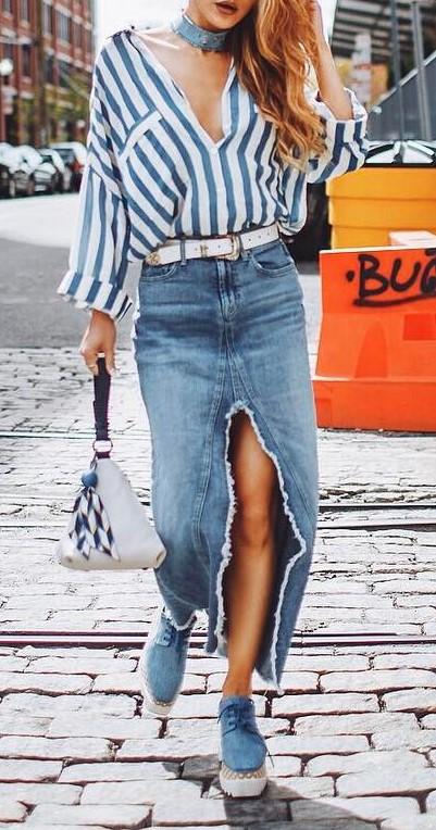 street style perfection: shirt + maxi denim skirt + bag