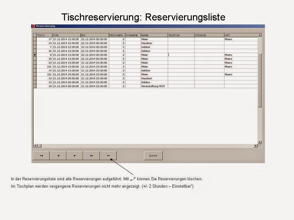 Tischreservierungen in Liste
