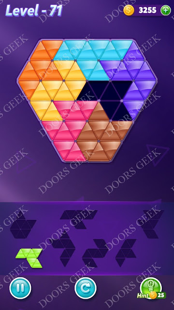 Block! Triangle Puzzle Advanced Level 71 Solution, Cheats, Walkthrough for Android, iPhone, iPad and iPod