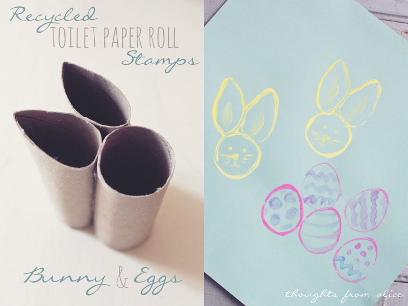 Recycled TP Roll Easter Bunny And Egg Stamps Kids Craft