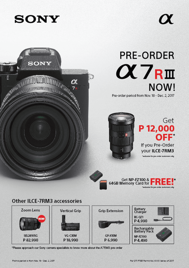 Sony launches α7R III full-frame camera and FE 24-105 mm F4 G OSS lens in the Philippines