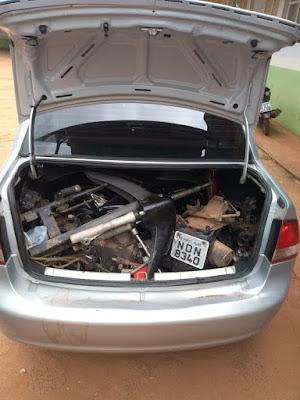 Veículo UBER transportava motocicleta desmontada para Guajará-Mirim