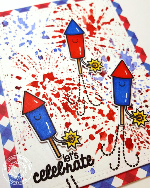 Sunny Studio Stamps: Stars & Stripes Red, White & Blue Fourth of July Rocket Card by Lindsey Bailey.