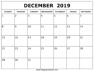 Free Printable Calendar December 2019
