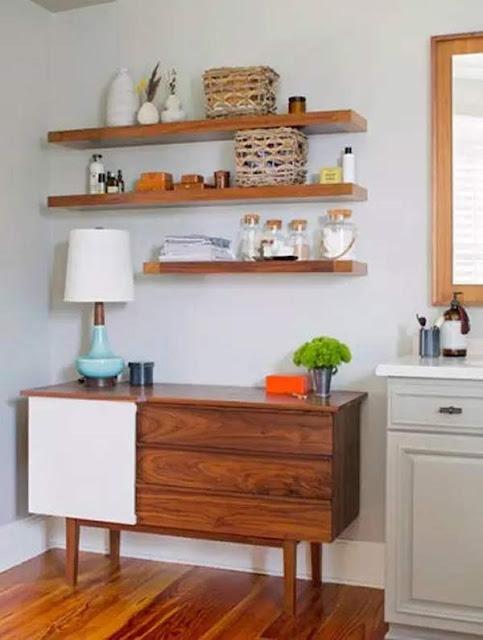 Elegant guest bathroom design with wooden floor