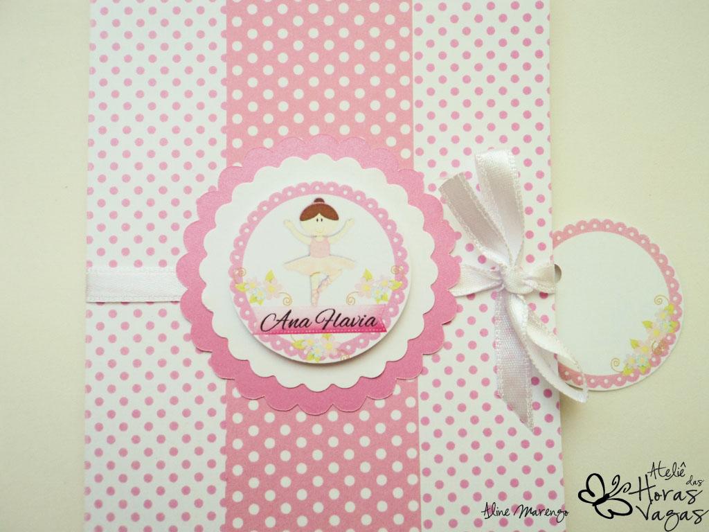 convite artesanal infantil aniversário bailarina poá rosa e branco