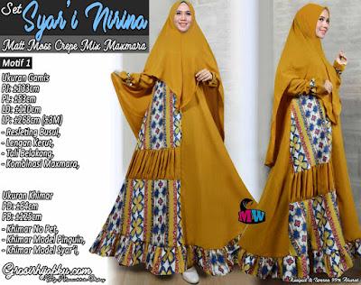 Gamis moscrepe kombinasi maxmara motif set hijab syar'i