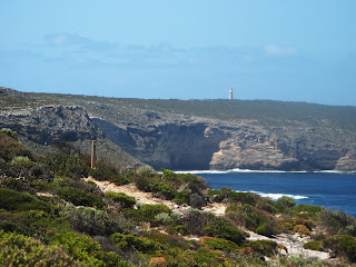 The Cape du Couedic lighthouse sits tantalizingly on the horizon as the KIWT follows the cliffs south towards Hakea Campsite