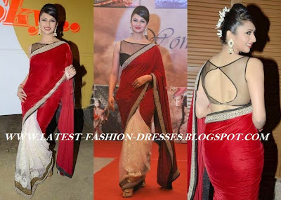 Bollywood actress half and half red velvet saree