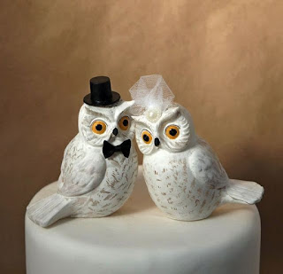 Elegant Owl Bird Wedding Cake Topper