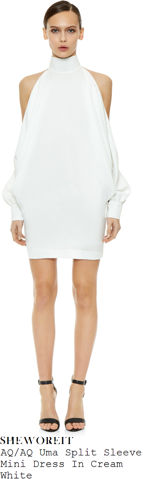 chloe-sims-aq-aq-uma-cream-white-long-split-sleeve-cold-shoulder-high-neck-mini-dress