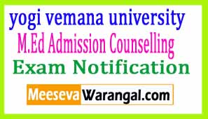 YVUCET-2017 M.Ed Admission Counselling Notification