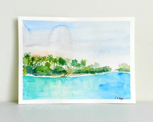 Watercolor beach landscape painting by Elise Engh: Grow Creative Blog
