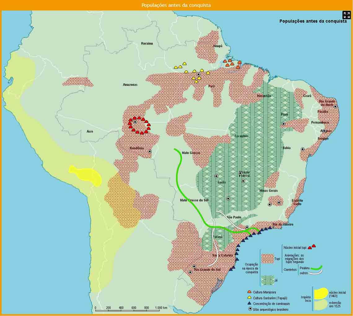 Populações da América do Sul antes da conquista dos europeus. Peabiru representado pela linha verde  (clique para ampliar). Mapa: Atlas Histórico do Brasil - FGV CPDOC