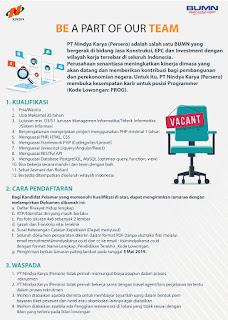 Lowongan Kerja BUMN Mei 2019 - PT Nindya Karya (Persero)