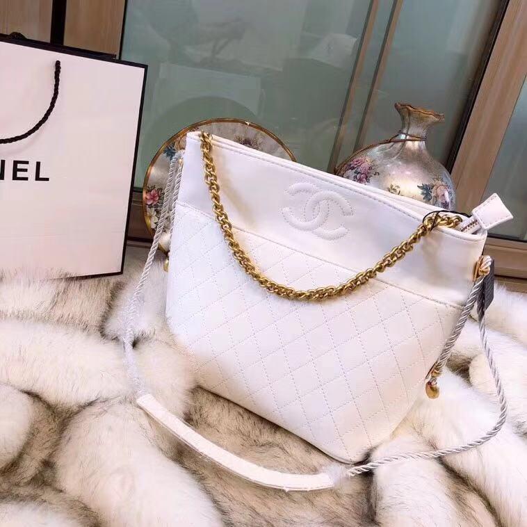 5a19b43e7a0f CHANEL Hobo Handbag Crumpled Calfskin, Cotton & Gold-Tone Metal AS0076  Y84100 94305