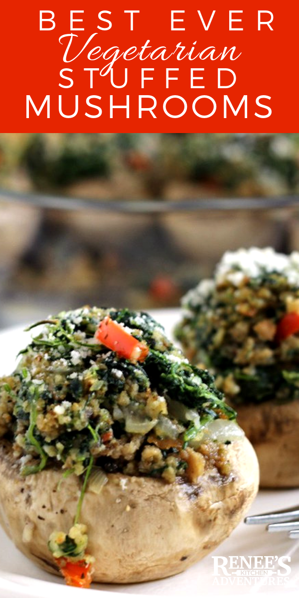 Easy Vegetarian Stuffed Mushrooms by Renee's Kitchen Adventures - easy recipe for vegetarian stuffed mushrooms made with spinach, red pepper, onion, bread crumbs, and Parmesan cheese. Makes a great appetizer or side dish. Make ahead directions great for Thanksgiving and Christmas holidays. #mushroom #stuffedmushroom #vegetarian #vegetable #Thanksgiving #Christmas #makeaheadrecipe