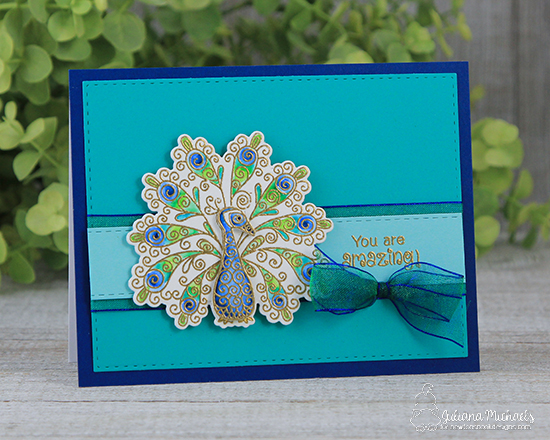 Peacock card by Juliana Michaels | Beautiful Plumage Stamp set by Newton's Nook Designs #newtonsnook