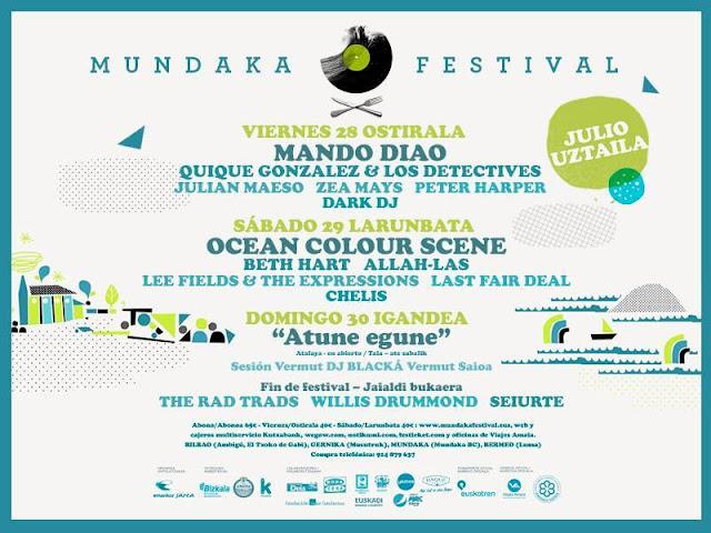 Mundaka, festival, 2017, cartel, días, Mando Diao, Ocean Colour Scene