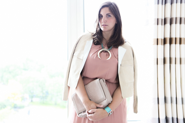 Style update: Silk dress, suede jacket and horn necklace