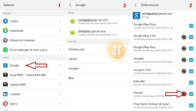 Back up Kontak dari HP Android ke Akun Google