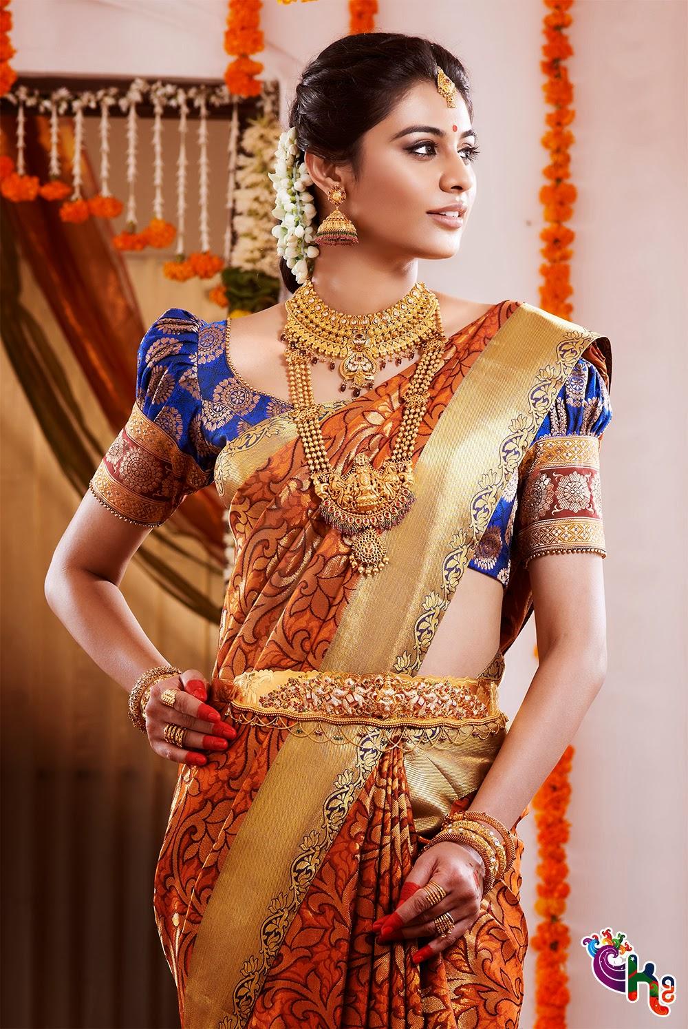 saree indian sarees south blouse traditional sari bridal jewellery bride designs latest tamil india chennai silks jewelry kumaran silk ganesh