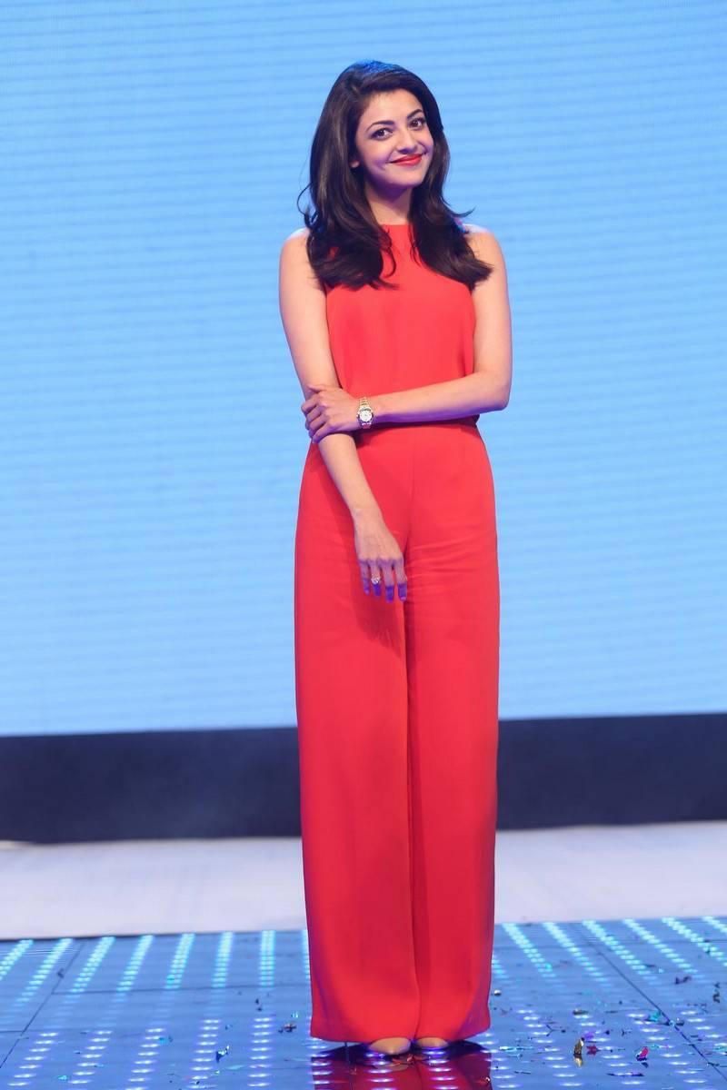 Kajal Stills In Orange Dress