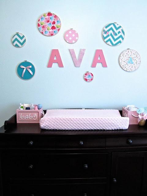 fabric embroidery hoop nursery wall decor
