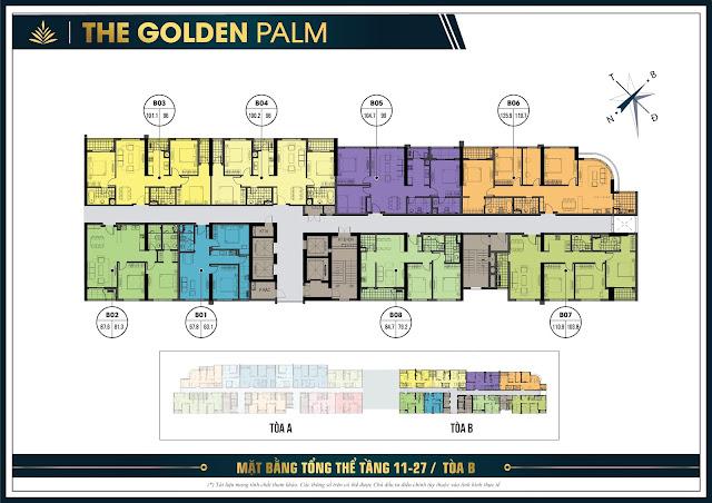 Mặt bằng tầng 11 - 27 tòa B chung cư The Golden Palm