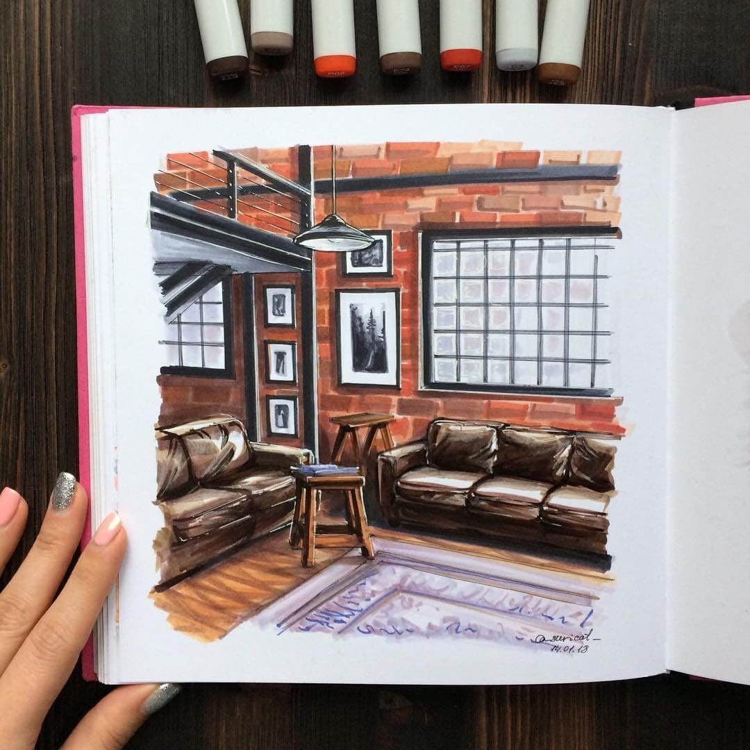 01-Loft-Style-Apartment-Ekaterina-Surikat-Interior-Design-Architecture-and-Travel-Journals-Drawings-www-designstack-co