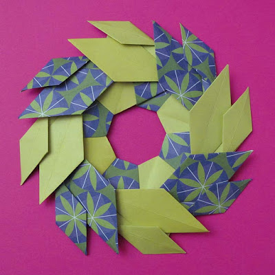 Origami con carta decorata, Ghirlanda di foglie - Garland of Leaves by Francesco Guarnieri