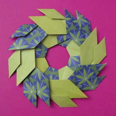 Origami con carta decorata, Ghirlanda di foglie - Garland of Leaves by Francesco Guarnieri
