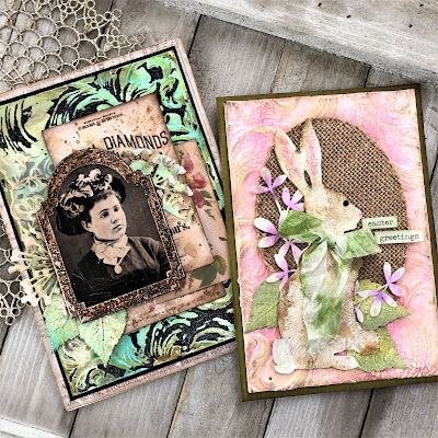 Frilly and Funkie https://frillyandfunkie.blogspot.com/2019/04/saturday-showcase-seth-apters-baked.html Spring Card Tutorial with Tim Holtz 3D Embossing Seth Apter Baked Velvet by Sara Emily Barker 1