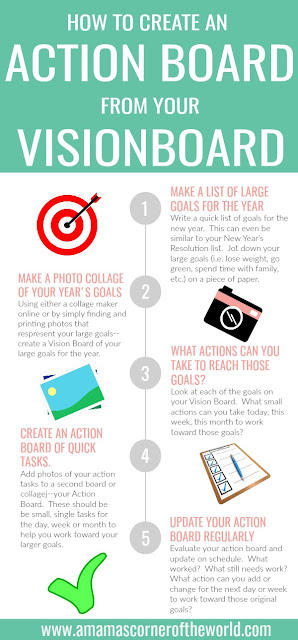 Pin this Infographic to help you create an action board from your vision board