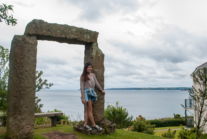 stonehengs structure, ootd, and view of the sea in gyllyngdune gardens Falmouth, conrwall, England