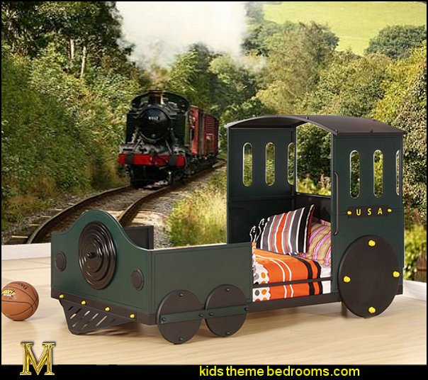 Tobi Green and Black Youth Train Bed  Train themed bedroom decorating ideas - boys bedroom train theme decor  - train themed beds - train themed furniture - train theme bedding - train theme decorations - Thomas the tank bedroom - Thomas the tank theme bed - old world train themed bedroom - vintage style trains wall murals - choo choo trains wall decal stickers - Train Theme furniture